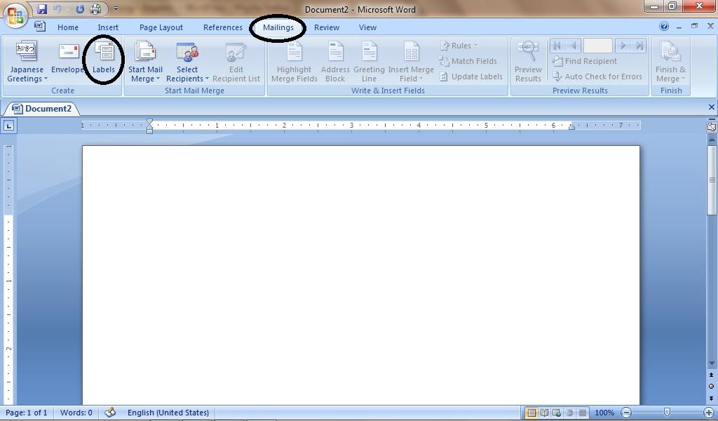 Mencetak Label Undangan di Word 2007